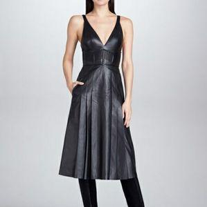 J. Mendel Leather Plunge Dress Sz 6